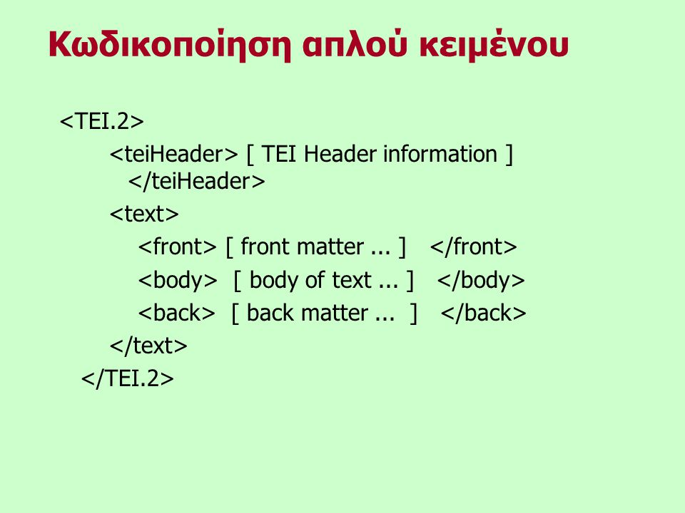 [ TEI Header information ] [ front matter... ] [ body of text...