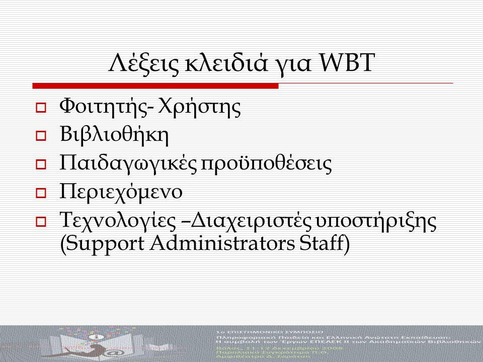 Λέξεις κλειδιά για WBT  Φοιτητής- Χρήστης  Βιβλιοθήκη  Παιδαγωγικές προϋποθέσεις  Περιεχόμενο  Τεχνολογίες –Διαχειριστές υποστήριξης (Support Administrators Staff)
