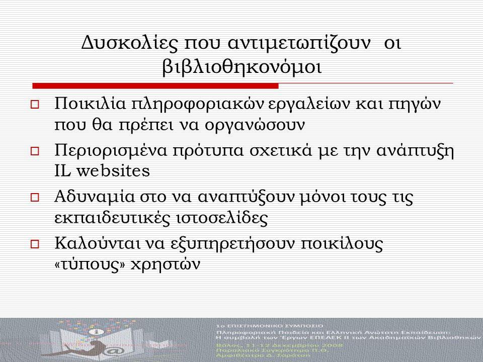 Δυσκολίες που αντιμετωπίζουν οι βιβλιοθηκονόμοι  Ποικιλία πληροφοριακών εργαλείων και πηγών που θα πρέπει να οργανώσουν  Περιορισμένα πρότυπα σχετικά με την ανάπτυξη IL websites  Αδυναμία στο να αναπτύξουν μόνοι τους τις εκπαιδευτικές ιστοσελίδες  Καλούνται να εξυπηρετήσουν ποικίλους «τύπους» χρηστών