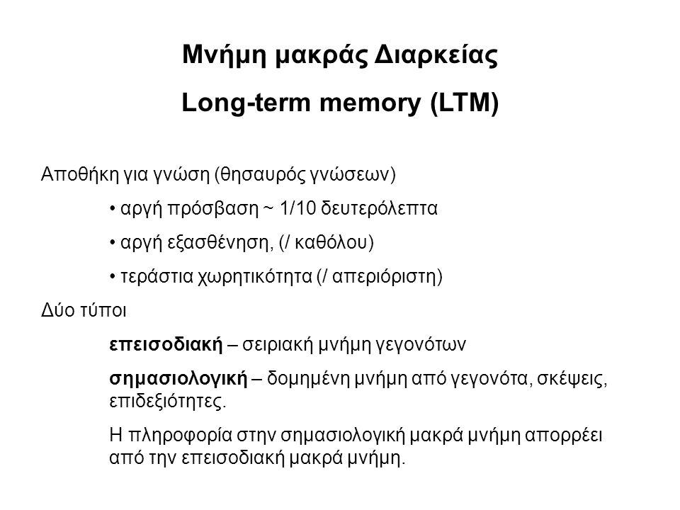 Μνήμη μακράς Διαρκείας Long-term memory (LTM) Αποθήκη για γνώση (θησαυρός γνώσεων) • αργή πρόσβαση ~ 1/10 δευτερόλεπτα • αργή εξασθένηση, (/ καθόλου)