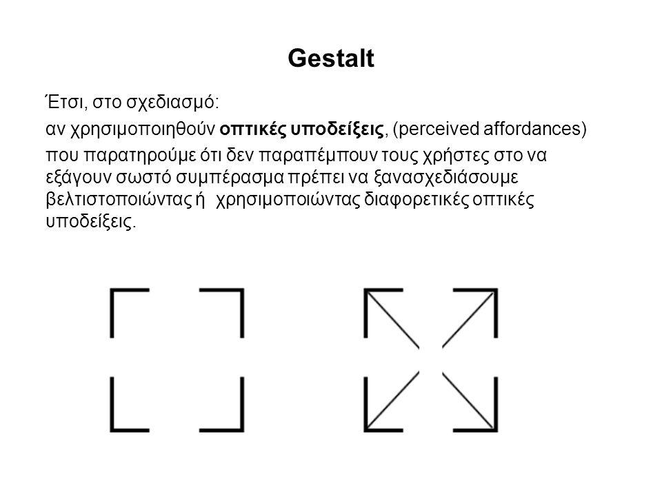 Gestalt Έτσι, στο σχεδιασμό: αν χρησιμοποιηθούν οπτικές υποδείξεις, (perceived affordances) που παρατηρούμε ότι δεν παραπέμπουν τους χρήστες στο να εξ
