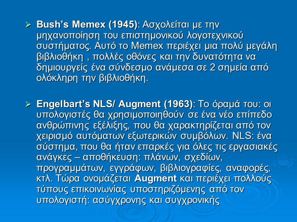  Bush's Memex (1945): Ασχολείται με την μηχανοποίηση του επιστημονικού λογοτεχνικού συστήματος.