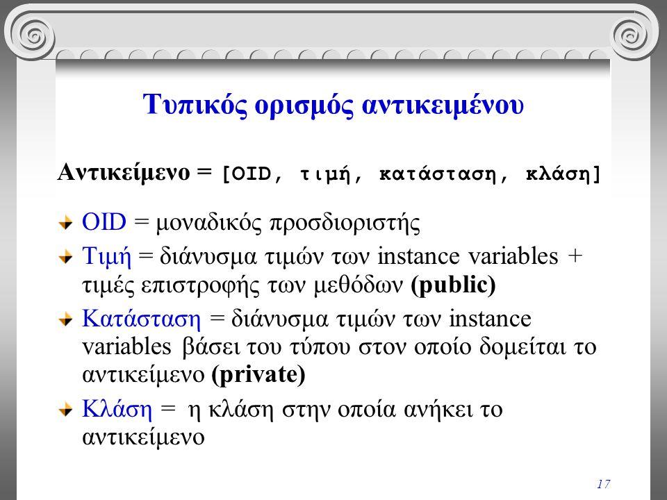 17 Τυπικός ορισμός αντικειμένου Αντικείμενο = [OID, τιμή, κατάσταση, κλάση] OID = μοναδικός προσδιοριστής Τιμή = διάνυσμα τιμών των instance variables
