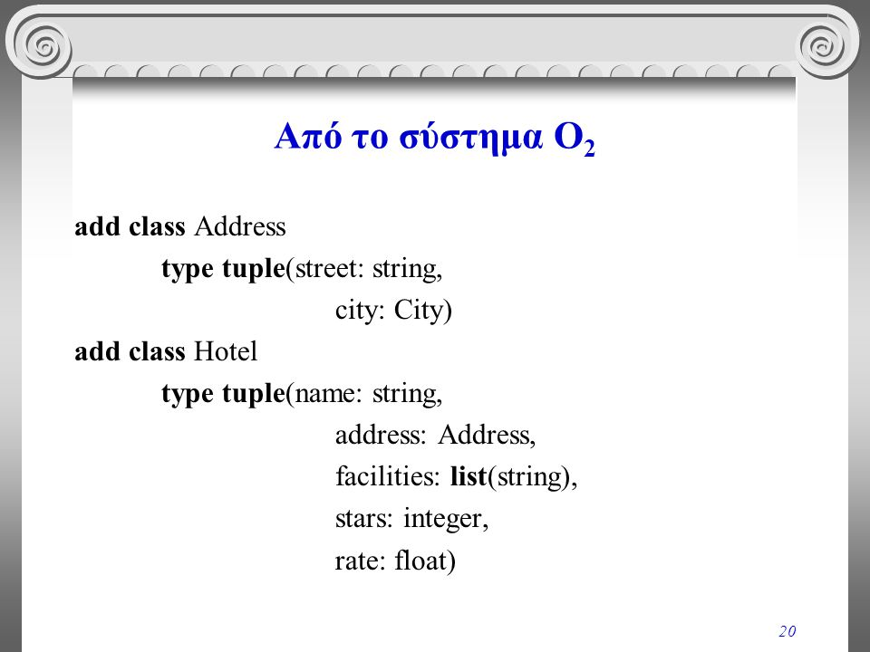 20 Από το σύστημα O 2 add class Address type tuple(street: string, city: City) add class Hotel type tuple(name: string, address: Address, facilities: