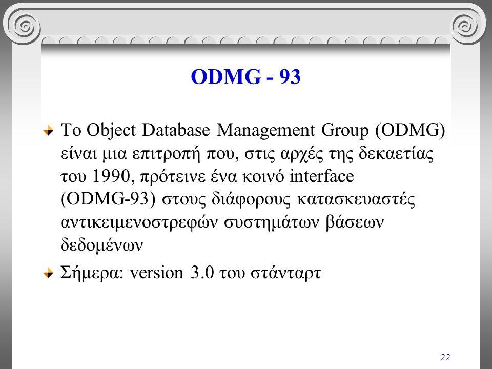 22 ODMG - 93 Το Object Database Management Group (ODMG) είναι μια επιτροπή που, στις αρχές της δεκαετίας του 1990, πρότεινε ένα κοινό interface (ODMG ‑ 93) στους διάφορους κατασκευαστές αντικειμενοστρεφών συστημάτων βάσεων δεδομένων Σήμερα: version 3.0 του στάνταρτ