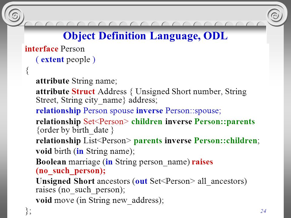24 Object Definition Language, ODL interface Person ( extent people ) { attribute String name; attribute Struct Address { Unsigned Short number, Strin