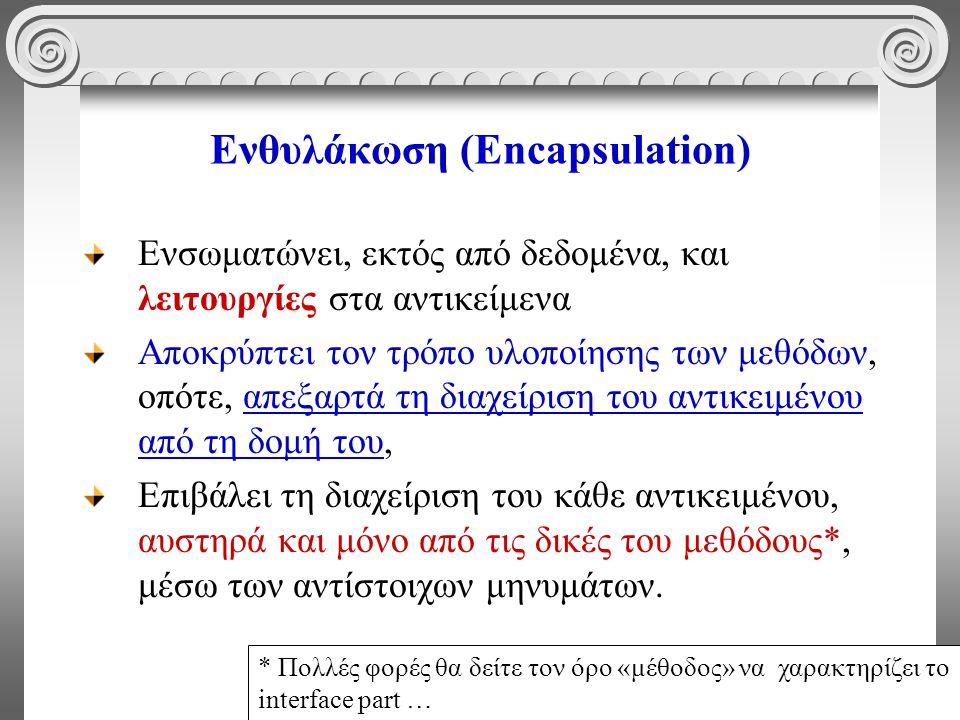 9 Ενθυλάκωση (Encapsulation) Ενσωματώνει, εκτός από δεδομένα, και λειτουργίες στα αντικείμενα Αποκρύπτει τον τρόπο υλοποίησης των μεθόδων, οπότε, απεξ