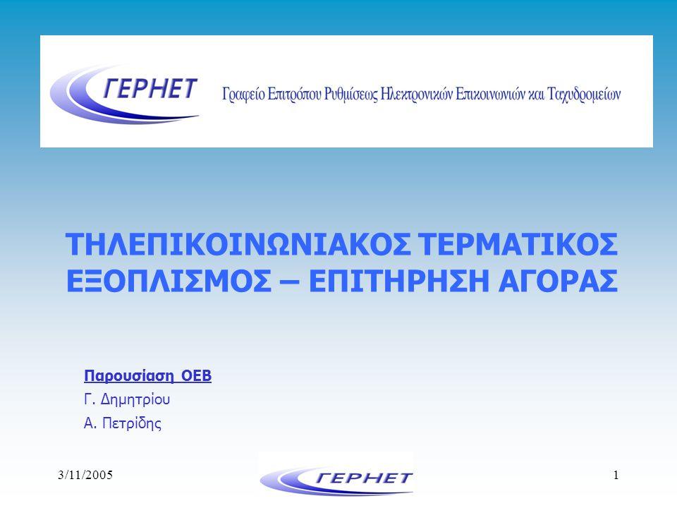 3/11/20052 1.Εισαγωγή - Ευρωπαϊκή Πολιτική 2.Οδηγία 1999/5/ΕΚ 1.