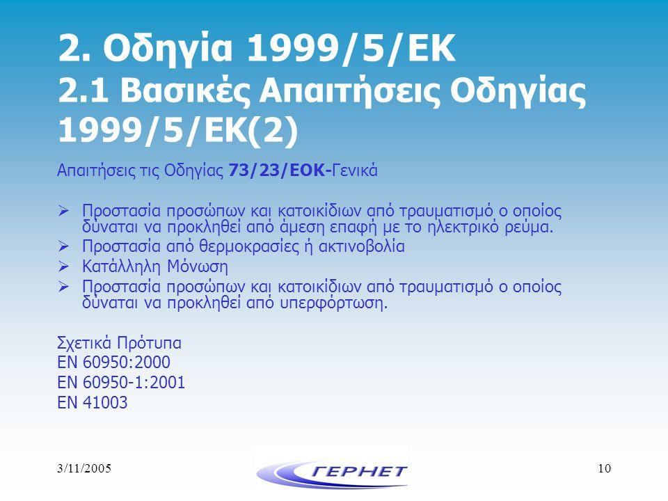 3/11/200510 2. Οδηγία 1999/5/ΕΚ 2.1 Βασικές Απαιτήσεις Οδηγίας 1999/5/ΕΚ(2) Απαιτήσεις τις Οδηγίας 73/23/ΕΟΚ-Γενικά  Προστασία προσώπων και κατοικίδι
