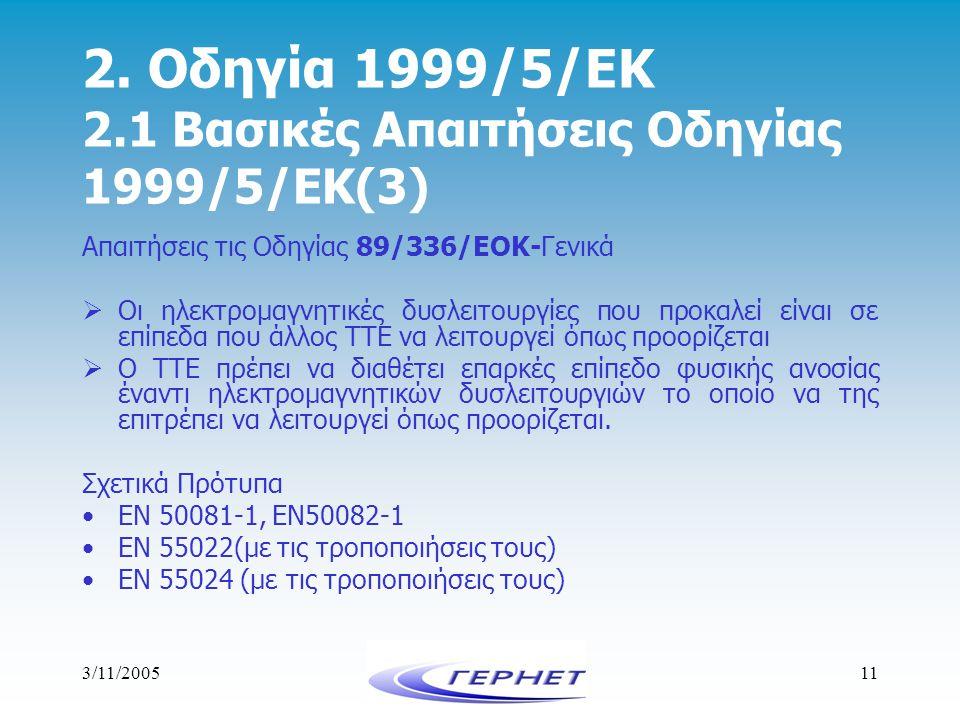 3/11/200511 2. Οδηγία 1999/5/ΕΚ 2.1 Βασικές Απαιτήσεις Οδηγίας 1999/5/ΕΚ(3) Απαιτήσεις τις Οδηγίας 89/336/ΕΟΚ-Γενικά  Οι ηλεκτρομαγνητικές δυσλειτουρ