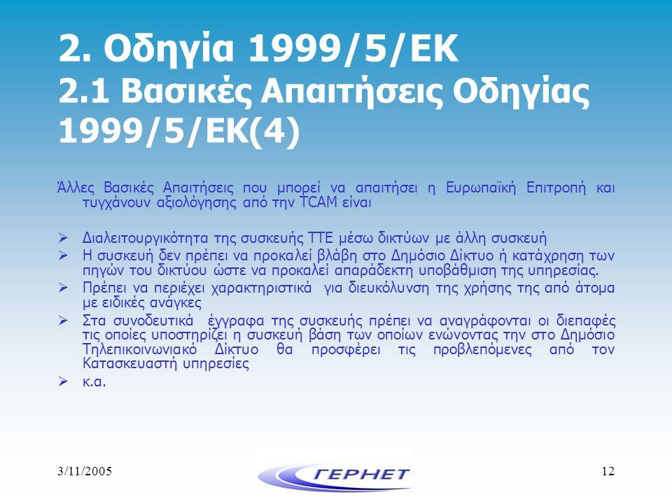 3/11/200512 2. Οδηγία 1999/5/ΕΚ 2.1 Βασικές Απαιτήσεις Οδηγίας 1999/5/ΕΚ(4) Άλλες Βασικές Απαιτήσεις που μπορεί να απαιτήσει η Ευρωπαϊκή Επιτροπή και