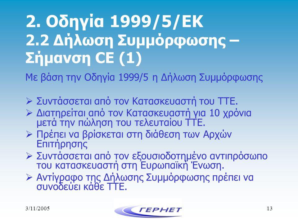3/11/200513 2. Οδηγία 1999/5/ΕΚ 2.2 Δήλωση Συμμόρφωσης – Σήμανση CE (1) Με βάση την Οδηγία 1999/5 η Δήλωση Συμμόρφωσης  Συντάσσεται από τον Κατασκευα