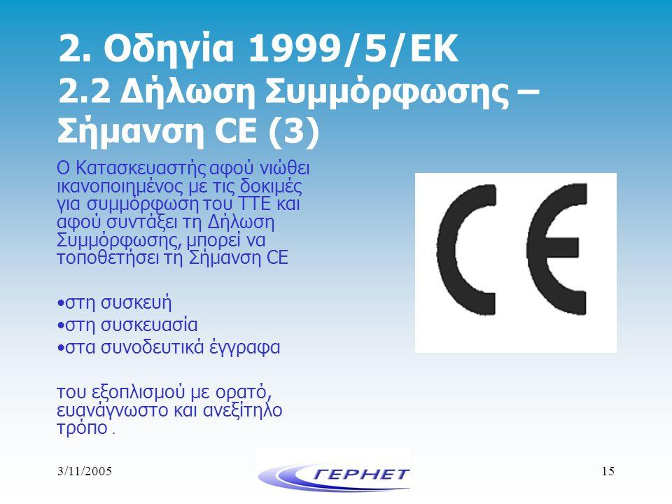 3/11/200515 2. Οδηγία 1999/5/ΕΚ 2.2 Δήλωση Συμμόρφωσης – Σήμανση CE (3) Ο Κατασκευαστής αφού νιώθει ικανοποιημένος με τις δοκιμές για συμμόρφωση του Τ