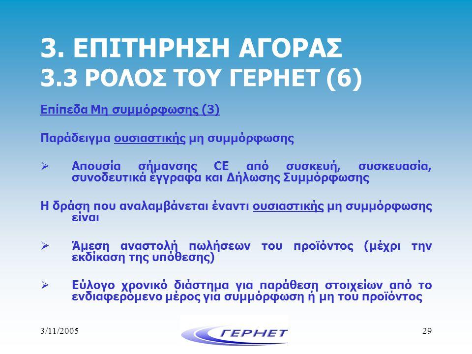 3/11/200529 3. ΕΠΙΤΗΡΗΣΗ ΑΓΟΡΑΣ 3.3 ΡΟΛΟΣ ΤΟΥ ΓΕΡΗΕΤ (6) Επίπεδα Μη συμμόρφωσης (3) Παράδειγμα ουσιαστικής μη συμμόρφωσης  Απουσία σήμανσης CE από συ