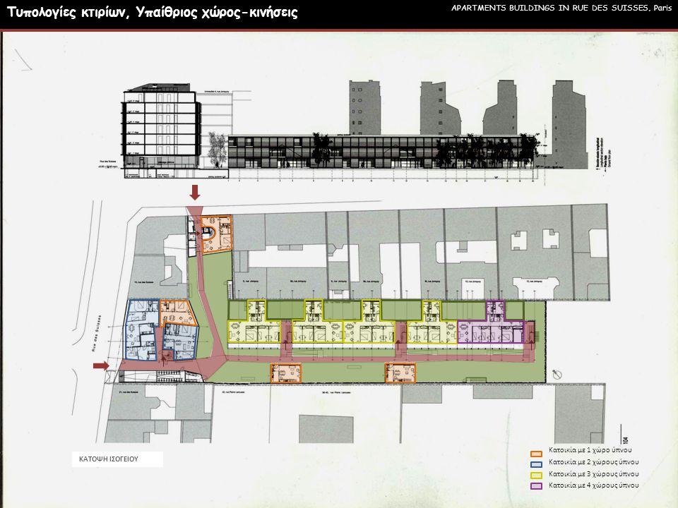 Κατοικία με 1 χώρο ύπνου Κατοικία με 2 χώρους ύπνου Κατοικία με 3 χώρους ύπνου Κατοικία με 4 χώρους ύπνου ΚΑΤΟΨΗ ΙΣΟΓΕΙΟΥ APARTMENTS BUILDINGS IN RUE DES SUISSES, Paris Τυπολογίες κτιρίων, Υπαίθριος χώρος-κινήσεις