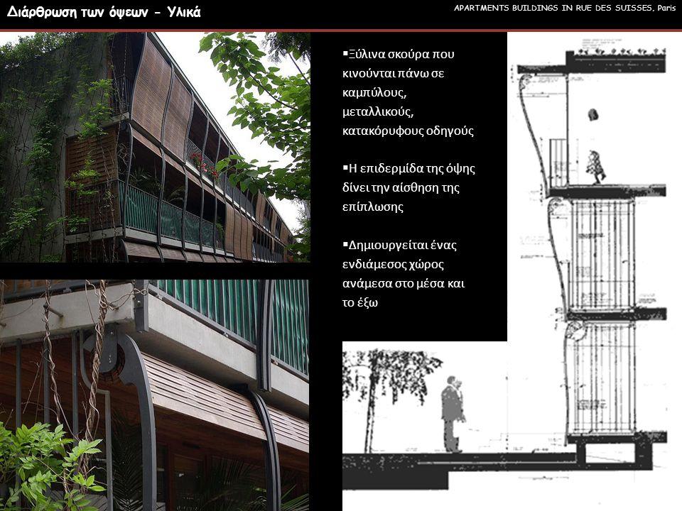  Ξύλινα σκούρα που κινούνται πάνω σε καμπύλους, μεταλλικούς, κατακόρυφους οδηγούς  Η επιδερμίδα της όψης δίνει την αίσθηση της επίπλωσης  Δημιουργείται ένας ενδιάμεσος χώρος ανάμεσα στο μέσα και το έξω APARTMENTS BUILDINGS IN RUE DES SUISSES, Paris Διάρθρωση των όψεων - Υλικά