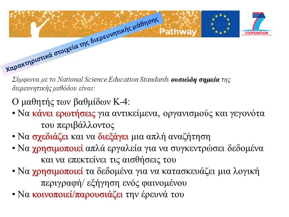 ουσιώδη σημεία Σύμφωνα με το National Science Education Standards ουσιώδη σημεία της διερευνητικής μεθόδου είναι: Ο μαθητής των βαθμίδων Κ-4: κάνει ερ