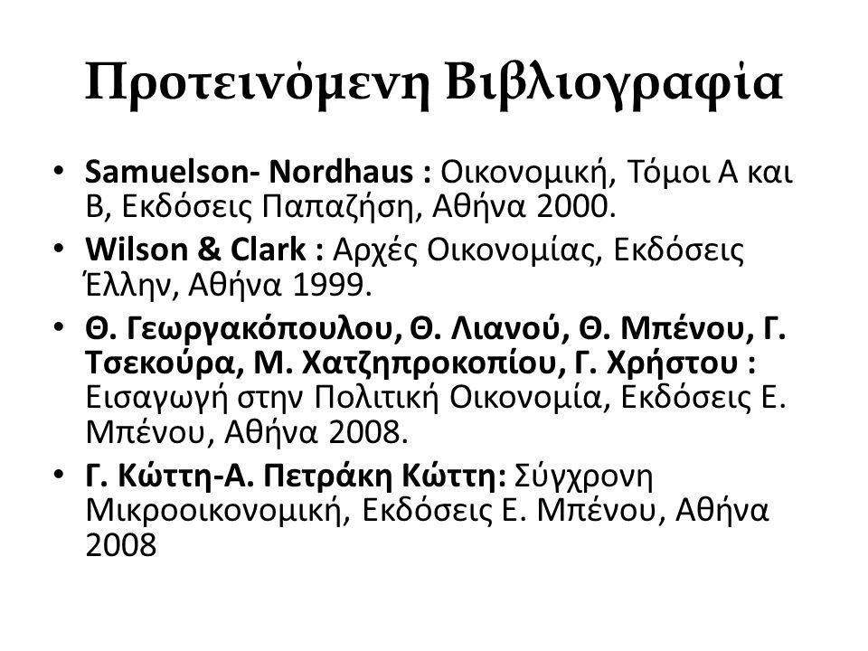 Προτεινόμενη Βιβλιογραφία • Samuelson- Nordhaus : Οικονομική, Τόμοι Α και Β, Εκδόσεις Παπαζήση, Αθήνα 2000. • Wilson & Clark : Αρχές Οικονομίας, Εκδόσ