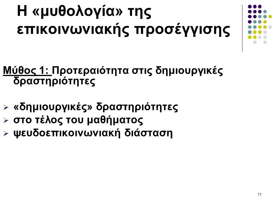 11 Η «μυθολογία» της επικοινωνιακής προσέγγισης Μύθος 1: Προτεραιότητα στις δημιουργικές δραστηριότητες  «δημιουργικές» δραστηριότητες  στο τέλος του μαθήματος  ψευδοεπικοινωνιακή διάσταση
