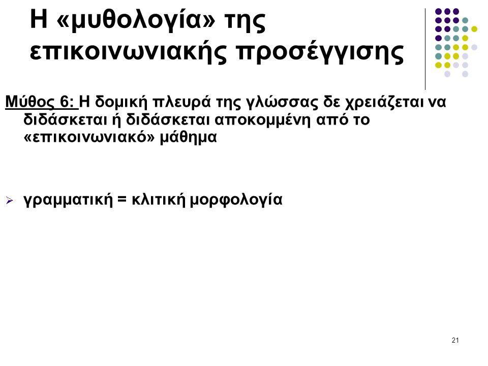 21 Η «μυθολογία» της επικοινωνιακής προσέγγισης Μύθος 6: Η δομική πλευρά της γλώσσας δε χρειάζεται να διδάσκεται ή διδάσκεται αποκομμένη από το «επικοινωνιακό» μάθημα  γραμματική = κλιτική μορφολογία