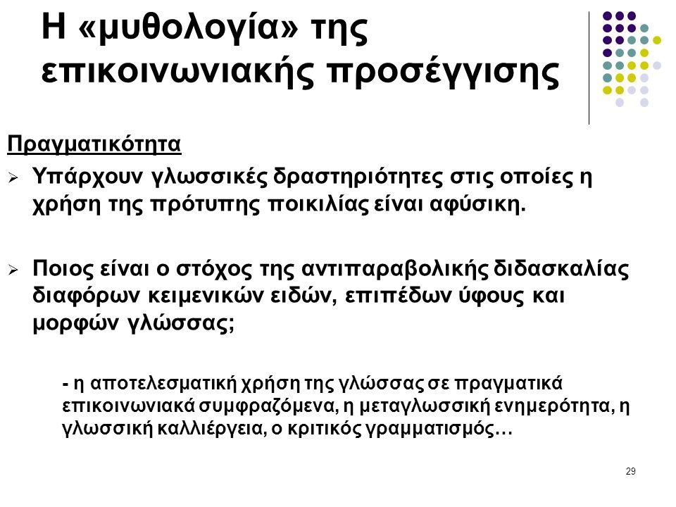 29 Η «μυθολογία» της επικοινωνιακής προσέγγισης Πραγματικότητα  Υπάρχουν γλωσσικές δραστηριότητες στις οποίες η χρήση της πρότυπης ποικιλίας είναι αφύσικη.