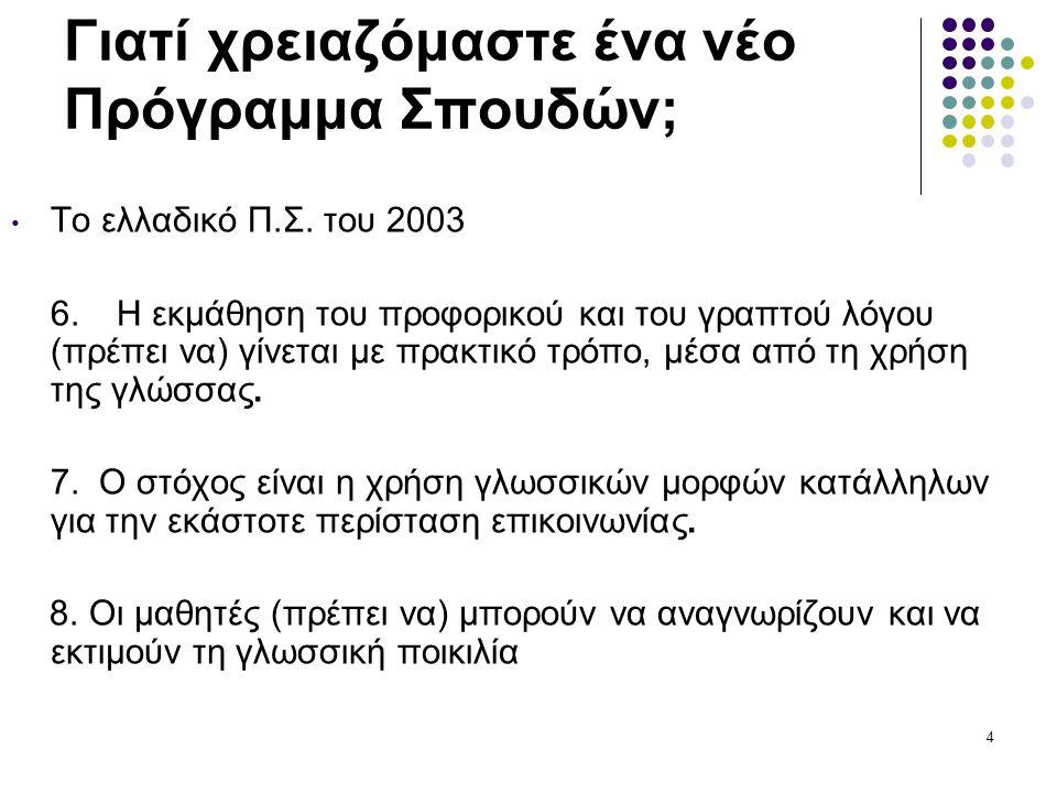 65 ΣΥΝΙΣΤΩΣΑ 4: Η κυπριακή διάλεκτος και η γλωσσική ποικιλότητα • Προτείνεται επομένως η ένταξη στο γλωσσικό μάθημα δραστηριοτήτων επεξεργασίας και παραγωγής τόσο προφορικού όσο και γραπτού λόγου στην κυπριακή διάλεκτο σε συστηματική αντιπαραβολή με την Κοινή Νέα Ελληνική.