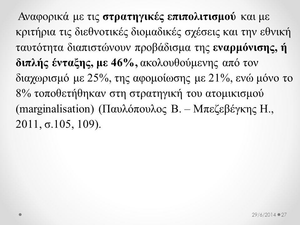 Αναφορικά με τις στρατηγικές επιπολιτισμού και με κριτήρια τις διεθνοτικές διομαδικές σχέσεις και την εθνική ταυτότητα διαπιστώνουν προβάδισμα της εναρμόνισης, ή διπλής ένταξης, με 46%, ακολουθούμενης από τον διαχωρισμό με 25%, της αφομοίωσης με 21%, ενώ μόνο το 8% τοποθετήθηκαν στη στρατηγική του ατομικισμού (marginalisation) (Παυλόπουλος Β.