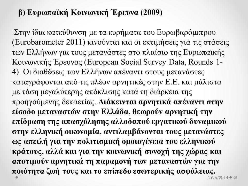 β) Ευρωπαϊκή Κοινωνική Έρευνα (2009) Στην ίδια κατεύθυνση με τα ευρήματα του Ευρωβαρόμετρου (Eurobarometer 2011) κινούνται και οι εκτιμήσεις για τις στάσεις των Ελλήνων για τους μετανάστες στο πλαίσιο της Ευρωπαϊκής Κοινωνικής Έρευνας (European Social Survey Data, Rounds 1- 4).