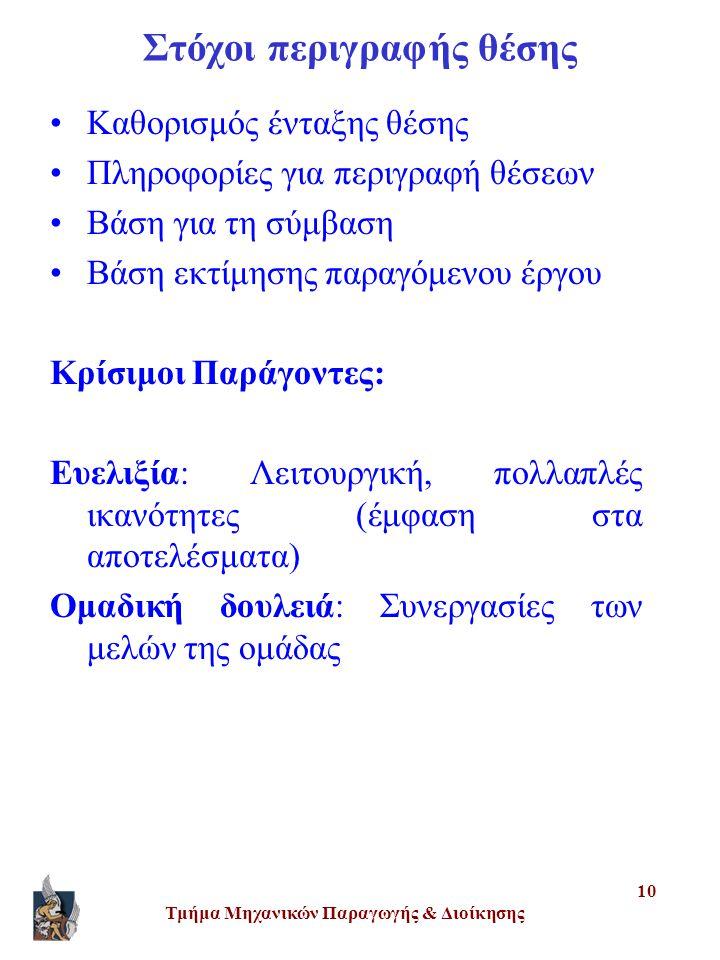 Τμήμα Μηχανικών Παραγωγής & Διοίκησης 10 Στόχοι περιγραφής θέσης •Καθορισμός ένταξης θέσης •Πληροφορίες για περιγραφή θέσεων •Βάση για τη σύμβαση •Βάση εκτίμησης παραγόμενου έργου Κρίσιμοι Παράγοντες: Ευελιξία: Λειτουργική, πολλαπλές ικανότητες (έμφαση στα αποτελέσματα) Ομαδική δουλειά: Συνεργασίες των μελών της ομάδας