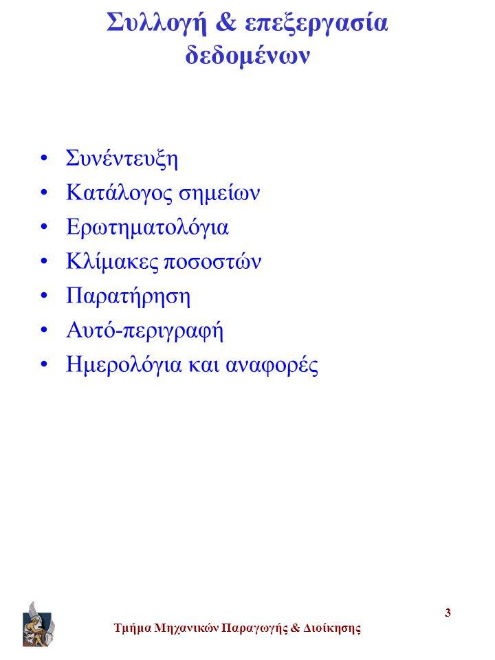 Τμήμα Μηχανικών Παραγωγής & Διοίκησης 3 Συλλογή & επεξεργασία δεδομένων •Συνέντευξη •Κατάλογος σημείων •Ερωτηματολόγια •Κλίμακες ποσοστών •Παρατήρηση •Αυτό-περιγραφή •Ημερολόγια και αναφορές