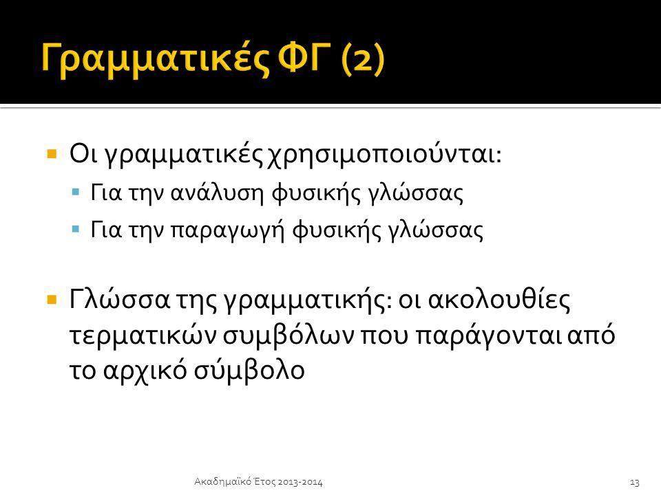  Οι γραμματικές χρησιμοποιούνται:  Για την ανάλυση φυσικής γλώσσας  Για την παραγωγή φυσικής γλώσσας  Γλώσσα της γραμματικής: οι ακολουθίες τερματικών συμβόλων που παράγονται από το αρχικό σύμβολο Ακαδημαϊκό Έτος 2013-201413