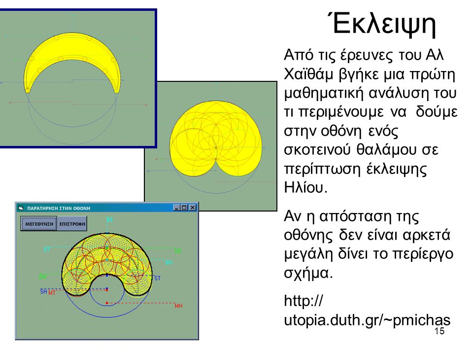 14 Ανάλυση του προβλήματος από τον Αλ Χαϊθάμ Το πρόβλημα του Αριστοτέλη για το σχηματισμό του κύκλου του Ηλίου σε σκοτεινό θάλαμο με τετράγωνο σχήμα.