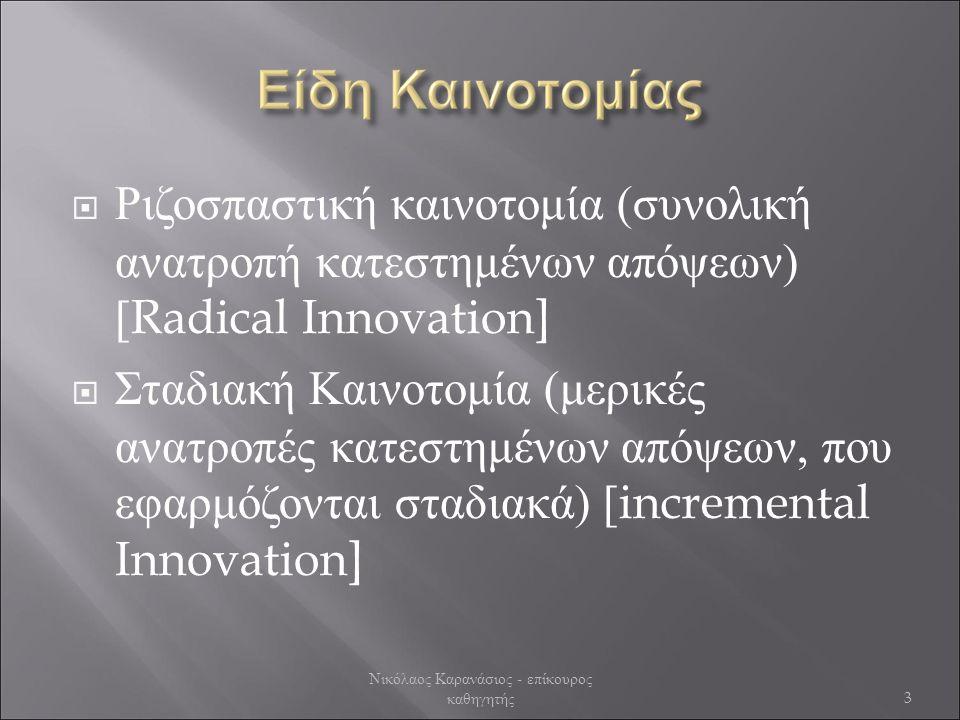  Ριζοσπαστική καινοτομία (συνολική ανατροπή κατεστημένων απόψεων) [ Radical Innovation]  Σταδιακή Καινοτομία (μερικές ανατροπές κατεστημένων απόψεων, που εφαρμόζονται σταδιακά) [ incremental Innovation] Νικόλαος Καρανάσιος - επίκουρος καθηγητής 3