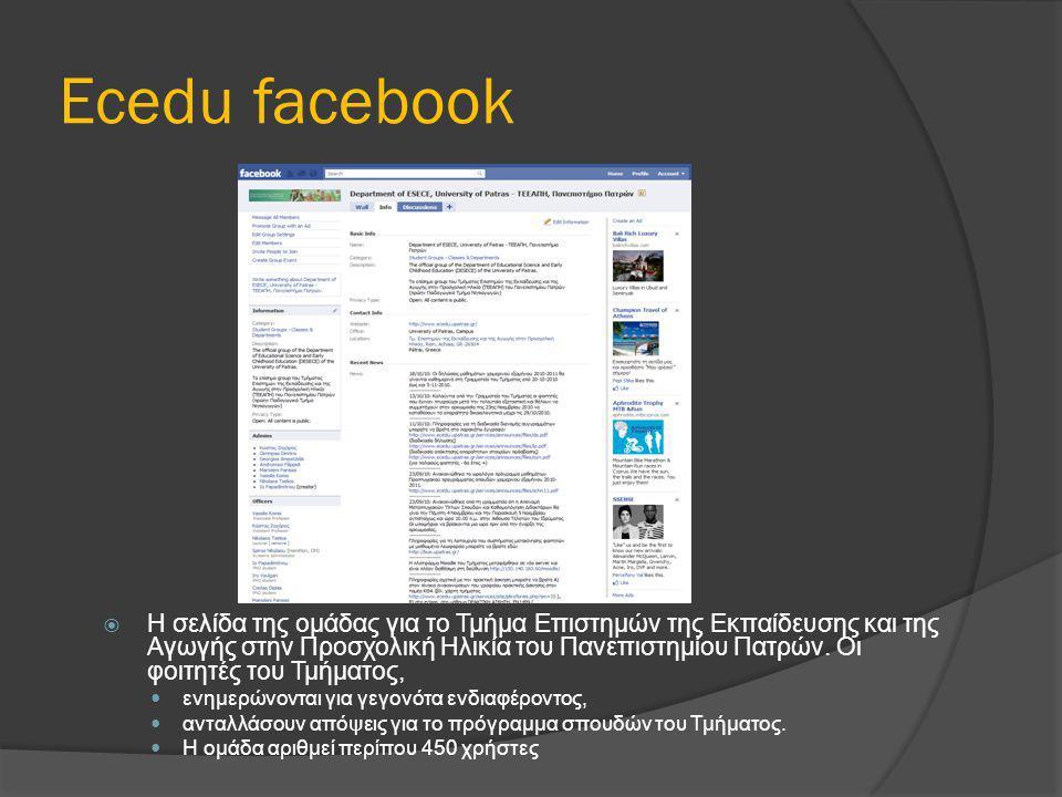 Ecedu facebook  Η σελίδα της ομάδας για το Τμήμα Επιστημών της Εκπαίδευσης και της Αγωγής στην Προσχολική Ηλικία του Πανεπιστημίου Πατρών. Οι φοιτητέ