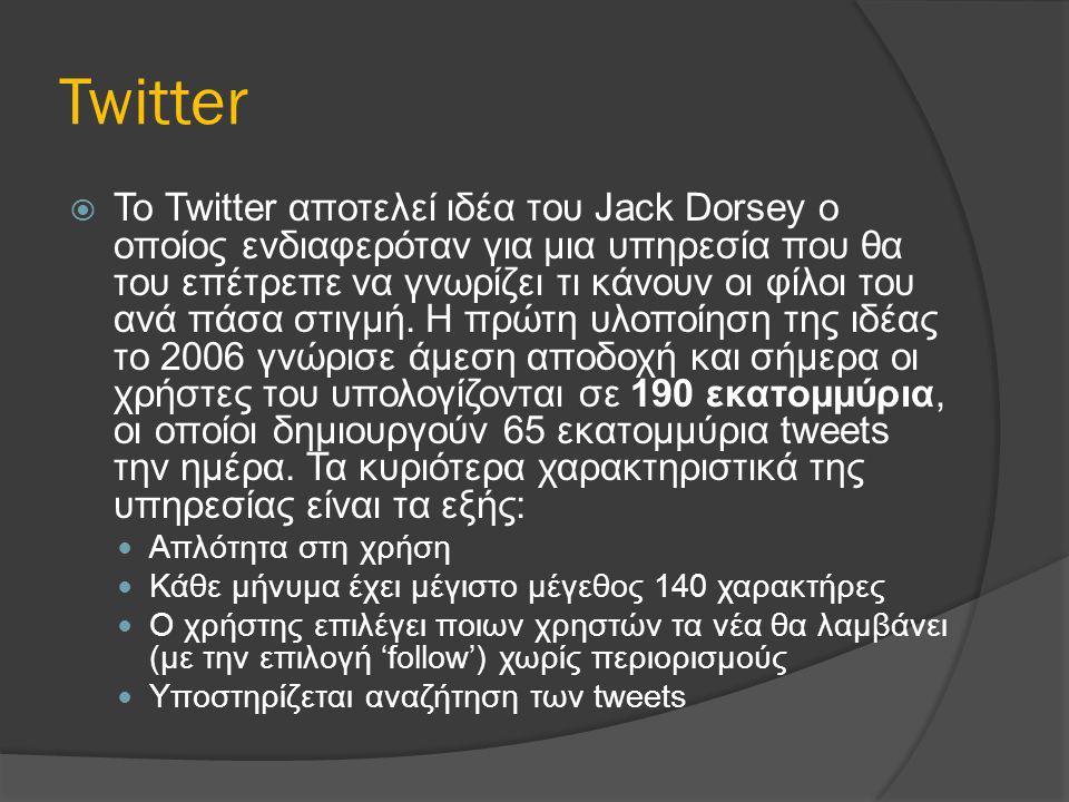 Twitter  To Twitter αποτελεί ιδέα του Jack Dorsey ο οποίος ενδιαφερόταν για μια υπηρεσία που θα του επέτρεπε να γνωρίζει τι κάνουν οι φίλοι του ανά π