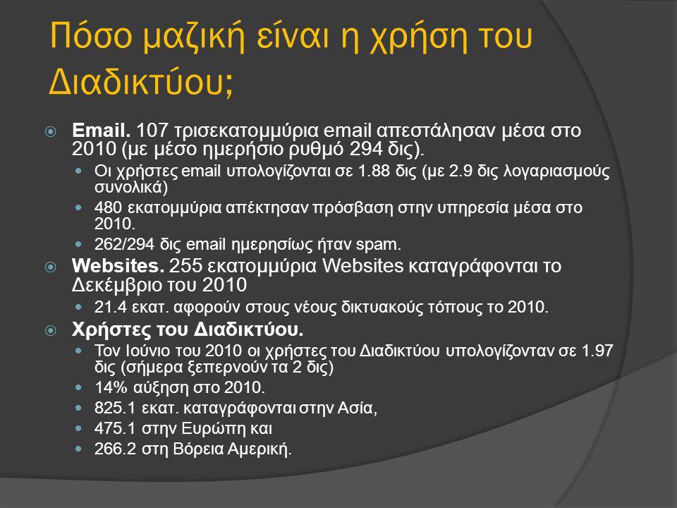 Πόσο μαζική είναι η χρήση του Διαδικτύου;  Email. 107 τρισεκατομμύρια email απεστάλησαν μέσα στο 2010 (με μέσο ημερήσιο ρυθμό 294 δις).  Οι χρήστες
