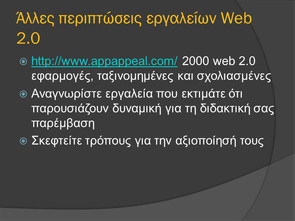 Άλλες περιπτώσεις εργαλείων Web 2.0  http://www.appappeal.com/ 2000 web 2.0 εφαρμογές, ταξινομημένες και σχολιασμένες http://www.appappeal.com/  Ανα