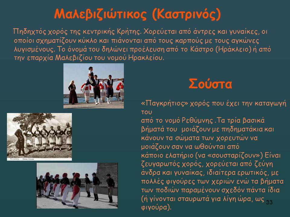 Μαλεβιζιώτικος (Καστρινός) Πηδηχτός χορός της κεντρικής Κρήτης. Χορεύεται από άντρες και γυναίκες, οι οποίοι σχηματίζουν κύκλο και πιάνονται από τους