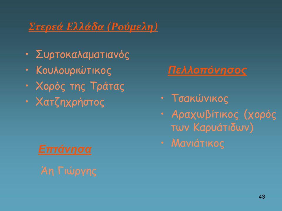 Στερεά Ελλάδα (Ρούμελη) •Συρτοκαλαματιανός •Κουλουριώτικος •Χορός της Τράτας •Χατζηχρήστος •Τσακώνικος •Αραχωβίτικος (χορός των Καρυάτιδων) •Μανιάτικο