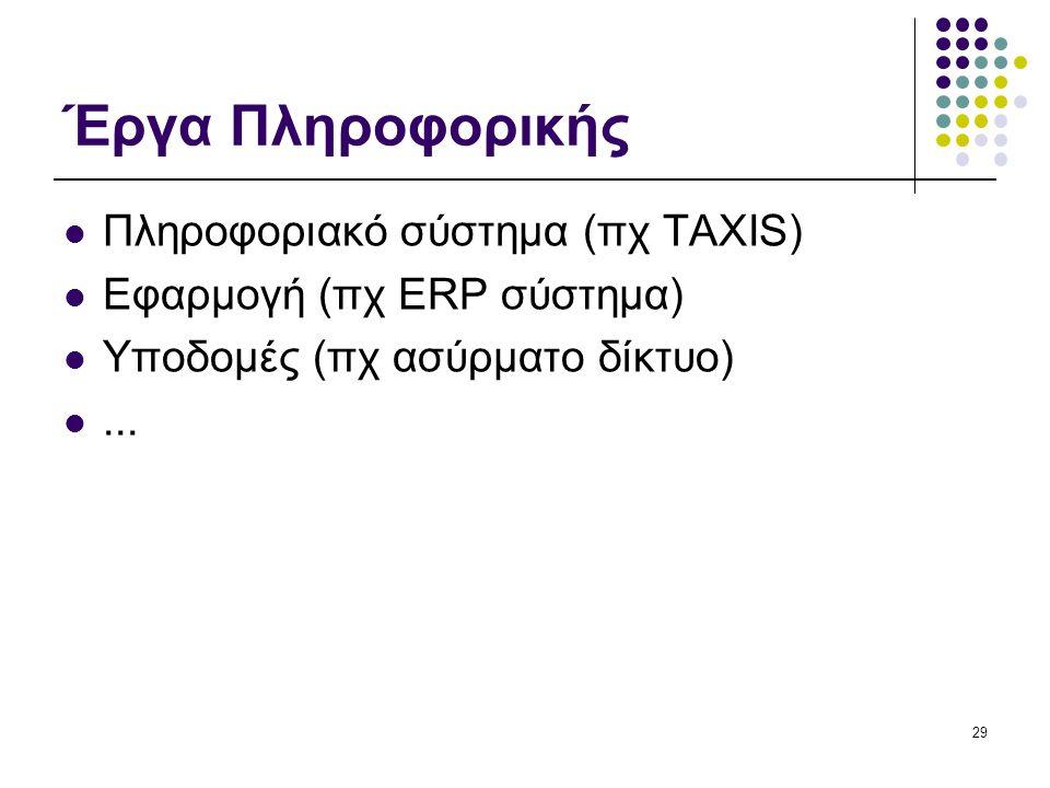 Έργα Πληροφορικής  Πληροφοριακό σύστημα (πχ TAXIS)  Εφαρμογή (πχ ERP σύστημα)  Υποδομές (πχ ασύρματο δίκτυο) ... 29