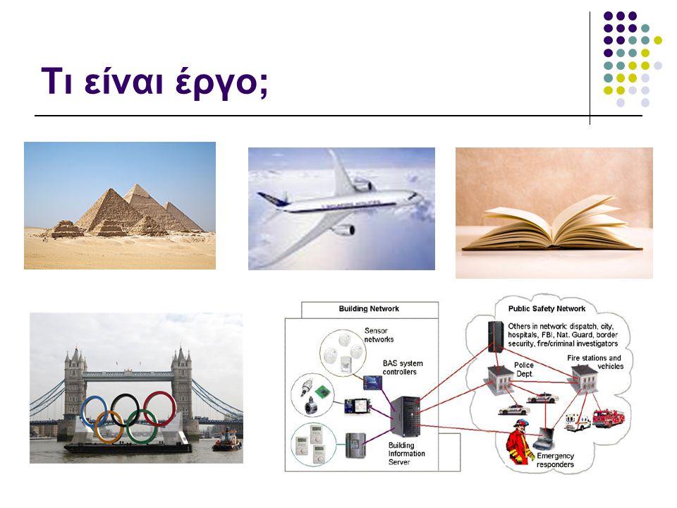 6  «Κάθε μη επαναλαμβανόμενη δραστηριότητα»  «Η συνολική διαδικασία που απαιτείται για την παραγωγή ενός νέου προϊόντος, συστήματος ή άλλων συγκεκριμένων αποτελεσμάτων»  «Μια στενά καθορισμένη δραστηριότητα που έχει σχεδιασθεί για πεπερασμένη διάρκεια για την επίτευξη ενός συγκεκριμένου στόχου»