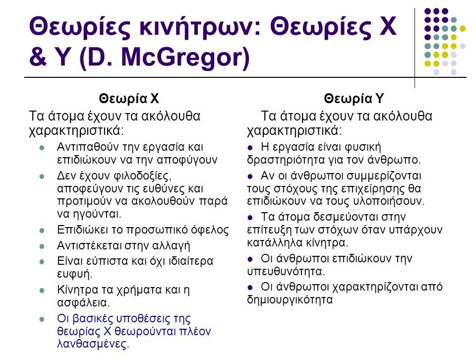 Θεωρίες κινήτρων: Θεωρίες Χ & Υ (D. McGregor) Θεωρία Χ Τα άτομα έχουν τα ακόλουθα χαρακτηριστικά:  Αντιπαθούν την εργασία και επιδιώκουν να την αποφύ