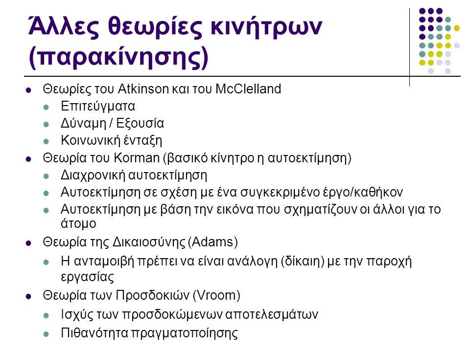 Άλλες θεωρίες κινήτρων (παρακίνησης)  Θεωρίες του Atkinson και του McClelland  Επιτεύγματα  Δύναμη / Εξουσία  Κοινωνική ένταξη  Θεωρία του Korman