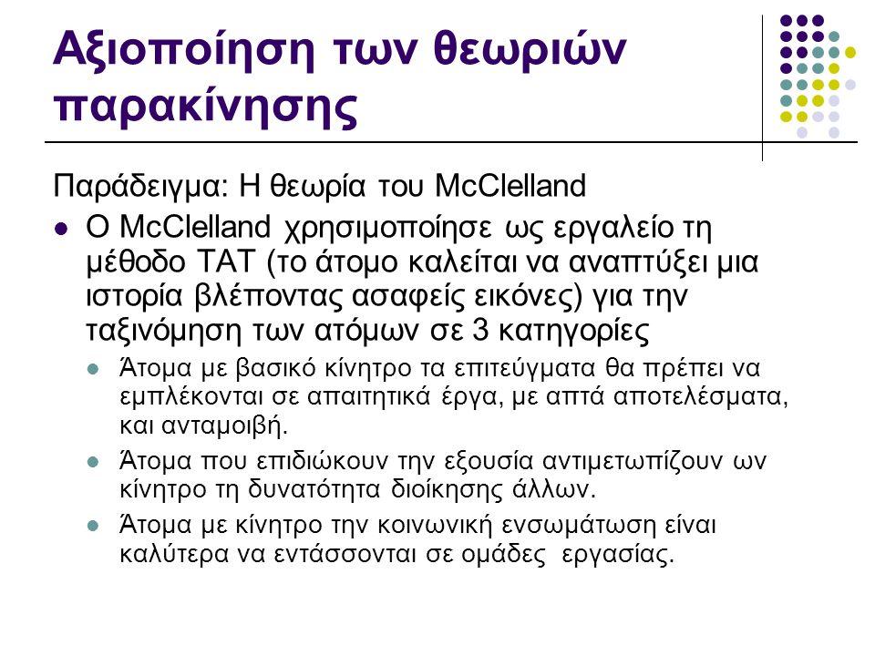 Αξιοποίηση των θεωριών παρακίνησης Παράδειγμα: Η θεωρία του McClelland  O McClelland χρησιμοποίησε ως εργαλείο τη μέθοδο ΤΑΤ (το άτομο καλείται να αν