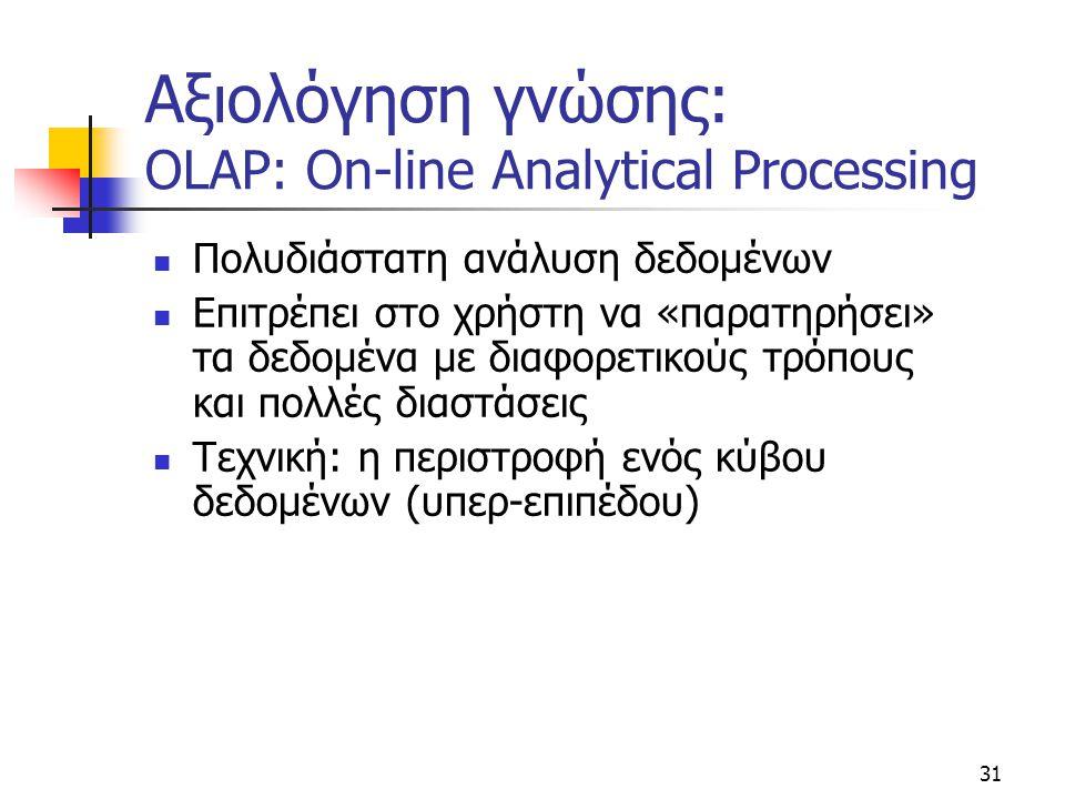 31 Αξιολόγηση γνώσης: OLAP: On-line Analytical Processing  Πολυδιάστατη ανάλυση δεδομένων  Επιτρέπει στο χρήστη να «παρατηρήσει» τα δεδομένα με διαφ