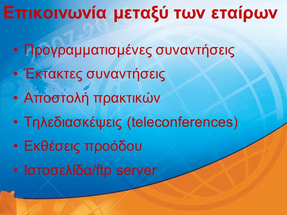 Επικοινωνία μεταξύ των εταίρων •Προγραμματισμένες συναντήσεις •Έκτακτες συναντήσεις •Αποστολή πρακτικών •Τηλεδιασκέψεις (teleconferences) •Εκθέσεις πρ