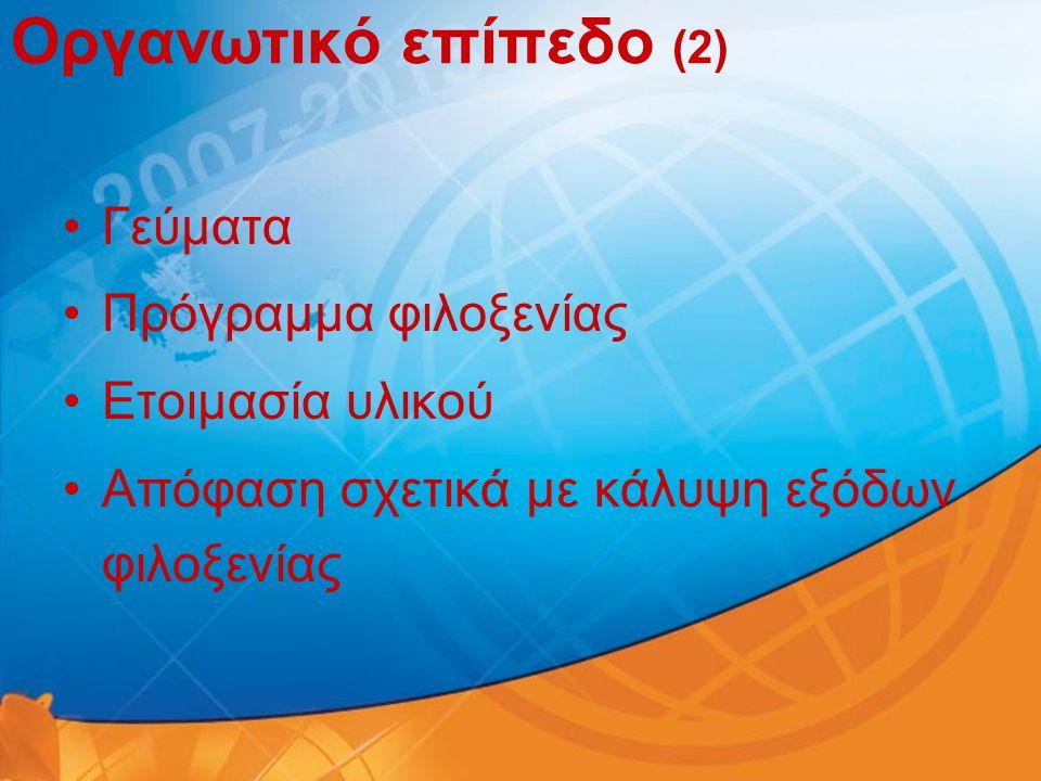 Οργανωτικό επίπεδο (2) •Γεύματα •Πρόγραμμα φιλοξενίας •Ετοιμασία υλικού •Απόφαση σχετικά με κάλυψη εξόδων φιλοξενίας