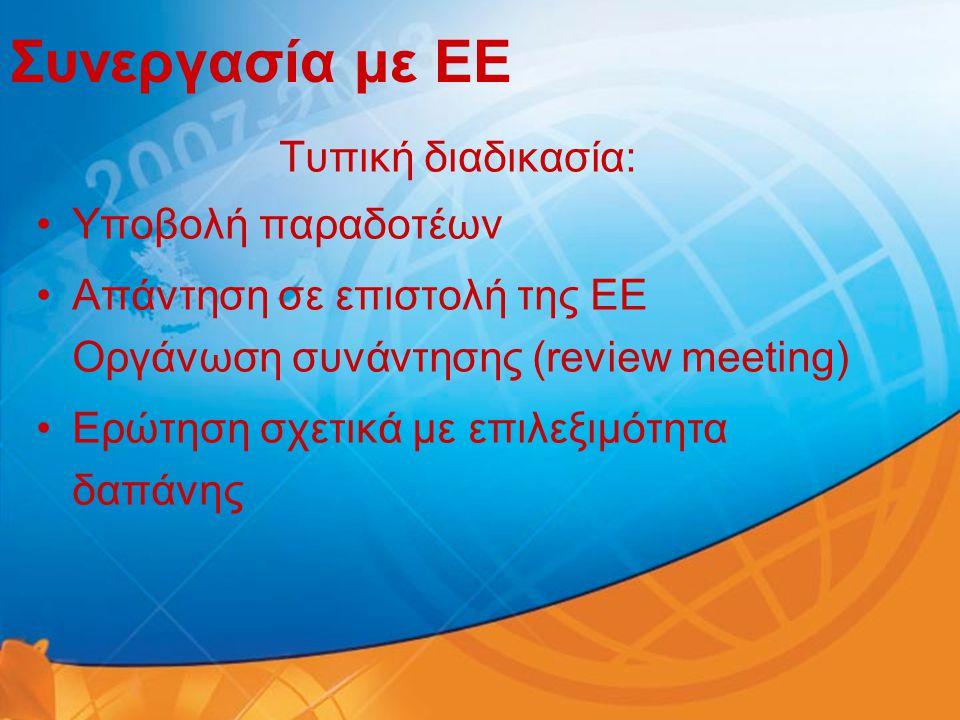 Συνεργασία με ΕΕ Τυπική διαδικασία: •Υποβολή παραδοτέων •Απάντηση σε επιστολή της ΕΕ Οργάνωση συνάντησης (review meeting) •Ερώτηση σχετικά με επιλεξιμ