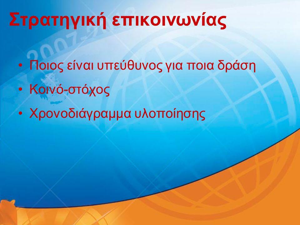 Στρατηγική επικοινωνίας •Ποιος είναι υπεύθυνος για ποια δράση •Κοινό-στόχος •Χρονοδιάγραμμα υλοποίησης