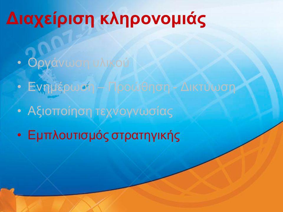 Διαχείριση κληρονομιάς •Οργάνωση υλικού •Ενημέρωση – Προώθηση - Δικτύωση •Αξιοποίηση τεχνογνωσίας •Εμπλουτισμός στρατηγικής